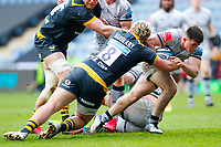 27th March 2021; Ricoh Arena, Coventry, West Midlands, England; English Premiership Rugby, Wasps versus Sale Sharks; Raffi Quirke of Sale Sharks is tackled by Alfie Barbeary of Wasps