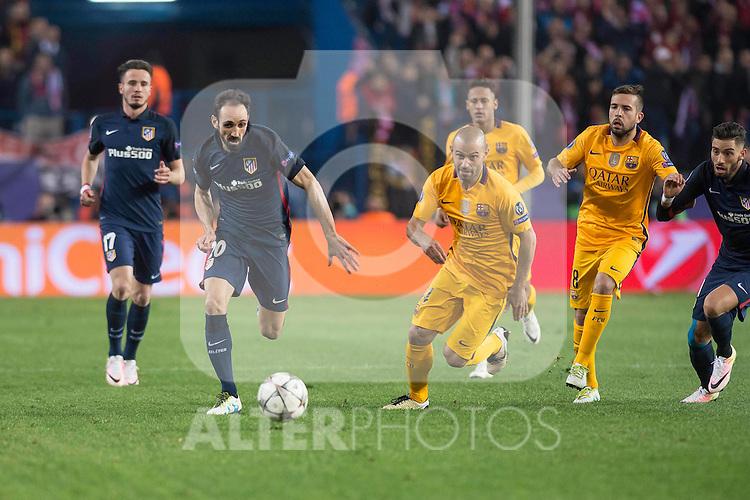 Atletico de Madrid's Juanfran and FC Barcelona Mascherano and Jordi Alba during Champions League 2015/2016 Quarter-Finals 2nd leg match. April 13, 2016. (ALTERPHOTOS/BorjaB.Hojas)