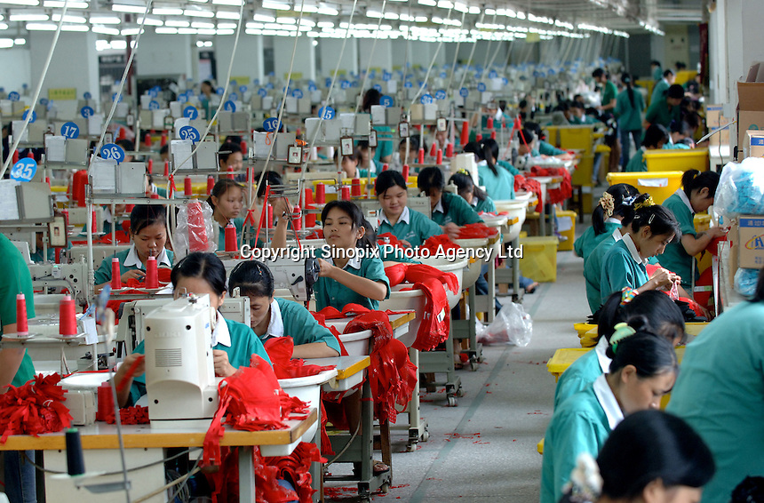 Inside the Jealosy Factory at the International Underwear City, Foshan City, Guangdong, China.  Jealosy produces 11 million bras annually and is increasing production by about 20 percent annually...PHOTO BY SINOPIX