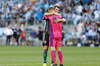 ST PAUL, MN - AUGUST 14: Jonathan Klinsmann #33 of the Los Angeles Galaxy and Nick DePuy #20 of the Los Angeles Galaxy celebrate the win after a game between Los Angeles Galaxy and Minnesota United FC at Allianz Field on August 14, 2021 in St Paul, Minnesota.