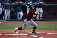 Clayton Mehlbauer (7) of the Bellarmine Knights at bat against the Liberty Flames at Liberty Baseball Stadium on March 9, 2021 in Lynchburg, VA. (Brian Westerholt/Four Seam Images)