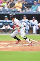 Hickory Crawdads Jonathan Ornelas (3) swings at a pitch during a game against the Asheville Tourists on July 20, 2021 at McCormick Field in Asheville, NC. (Tony Farlow/Four Seam Images)