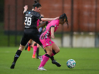 Magaly Guiteras Osma (28) of Woluwe  and Jessica Silva Valdebenito (18) of Sporting Charleroi battle for the ball during a female soccer game between Sporting Charleroi and White Star Woluwe on the 7 th matchday in play off 2 of the 2020 - 2021 season of Belgian Scooore Womens Super League , friday 14 th of May 2021  in Marcinelle , Belgium . PHOTO SPORTPIX.BE | SPP | Sevil Oktem