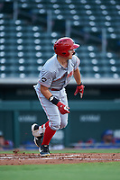 AZL Reds Yassel Pino (34) starts running toward first base during an Arizona League game against the AZL Cubs 2 on July 23, 2019 at Sloan Park in Mesa, Arizona. AZL Cubs 2 defeated the AZL Reds 5-3. (Zachary Lucy/Four Seam Images)