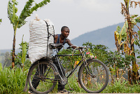 Rwanda, land of the thousand hills, Nyanza, local transport by bicycle