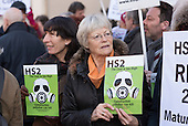 Local residents protest at the opening of the HS2 in Euston office, London.