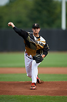 Aberdeen IronBirds pitcher Jake Lyons (55) during a NY-Penn League game against the Vermont Lake Monsters on August 18, 2019 at Leidos Field at Ripken Stadium in Aberdeen, Maryland.  Vermont defeated Aberdeen 6-5.  (Mike Janes/Four Seam Images)