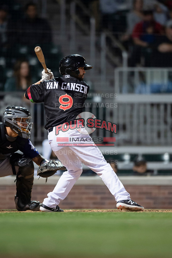 El Paso Chihuahuas pinch hitter Peter Van Gansen (9) during a Pacific Coast League game against the Albuquerque Isotopes at Southwest University Park on May 10, 2019 in El Paso, Texas. Albuquerque defeated El Paso 2-1. (Zachary Lucy/Four Seam Images)