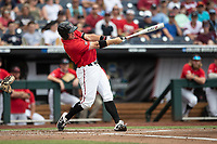 Texas Tech Red Raiders shortstop Josh Jung (16) swings the bat during Game 5 of the NCAA College World Series against the Arkansas Razorbacks on June 17, 2019 at TD Ameritrade Park in Omaha, Nebraska. Texas Tech defeated Arkansas 5-4. (Andrew Woolley/Four Seam Images)