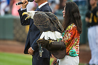 Opening ceremonies with a bald eagle from Salt Lake City's Hogel Zoo as the Iowa Cubs faced the Salt Lake Bees in Pacific Coast League action at Smith's Ballpark on August 21, 2015 in Salt Lake City, Utah. The Bees defeated the Cubs 12-8. (Stephen Smith/Four Seam Images)