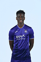 30th July 2020, Turbize, Belgium;   Albert Sambi Lokonga midfielder of Anderlecht pictured during the team photo shoot of RSC Anderlecht prior the Jupiler Pro league football season 2020 - 2021 at Tubize training Grounds.