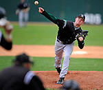 2 May 2008: Binghamton University Bearcats' pitcher Morgan Smith, a Freshman from Clifton Park, NY, on the mound against the University of Vermont Catamounts at Historic Centennial Field in Burlington, Vermont. The Catamounts defeated the Bearcats 6-2 in the first game of their weekend series...Mandatory Photo Credit: Ed Wolfstein Photo
