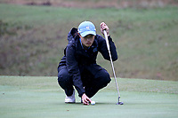 CHAPEL HILL, NC - OCTOBER 13: Nicole Lu of the University of North Carolina lines up a putt at UNC Finley Golf Course on October 13, 2019 in Chapel Hill, North Carolina.