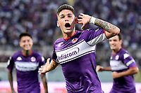 Lucas Martinez Quarta of ACF Fiorentina celebrates after scoring the goal of 1-0 during the Serie A 2021/2022 football match between ACF Fiorentina and SSC Napoli at Artemio Franchi stadium in Florence (Italy), October 3rd, 2021. Photo Andrea Staccioli / Insidefoto