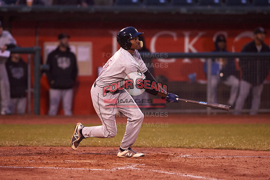 Wisconsin Timber Rattlers Korry Howell (36) at bat during a Midwest League game against the Lansing Lugnuts at Cooley Law School Stadium on May 2, 2019 in Lansing, Michigan. Lansing defeated Wisconsin 10-4. (Zachary Lucy/Four Seam Images)