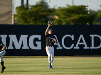 IMG Academy Ascenders outfielder Drew Gray (15) catches a fly ball during a game against the Jesuit Tigers on April 21, 2021 at IMG Academy in Bradenton, Florida.  (Mike Janes/Four Seam Images)