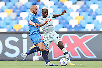 Victor Osimhen of SSC Napoli and Gennaro Scognamiglio of SC Pescara compete for the ball<br /> during the friendly football match between SSC Napoli and Pescara Calcio 1936 at stadio San Paolo in Napoli, Italy, September 11, 2020. <br /> Photo Cesare Purini / Insidefoto