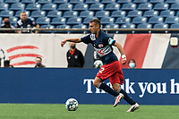 FOXBOROUGH, MA - MAY 12: Jake Rozhansky #32 of New England Revolution II looks to pass during a game between Union Omaha and New England Revolution II at Gillette Stadium on May 12, 2021 in Foxborough, Massachusetts.