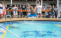 Belly flop contest on the 2012 Barge to Hell.