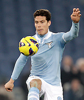 Calcio, semifinale di ritorno di Coppa Italia: Lazio vs Juventus. Roma, stadio Olimpico, 29 gennaio 2013..Lazio midfielder Hernanes, of Brazil, controls the ball during the Italy Cup football semifinal return leg match between Lazio and Juventus at Rome's Olympic stadium, 29 January 2013..UPDATE IMAGES PRESS/Riccardo De Luca