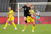 21st July 2021. Tokyo, Japan; Betsy Hassett 12 from New Zealand and Emily van Egmond 10 from Australia during the opening ceremonies between Australia and New Zealand, soccer game at the 2021 Tokyo Olympic Games held in Tokyo, Japan.