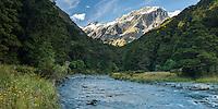 Matukituki River at Pearl Flat, Mt. Aspiring National Park, Central Otago, World Heritage Area, South Island, New Zealand