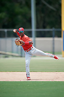 GCL Phillies West shortstop Luis Garcia (5) throws to first base during a game against the GCL Blue Jays on August 7, 2018 at Bobby Mattick Complex in Dunedin, Florida.  GCL Blue Jays defeated GCL Phillies West 11-5.  (Mike Janes/Four Seam Images)