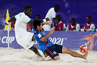 28th August 2021; Luzhniki Stadium, Moscow, Russia: FIFA World Cup Beach Football tournament; Semi final match Japan versus Senegal: Japan's Naoya Matsuo competes with Mandione Diagne of Senegal, during the match between Japan and Senegal