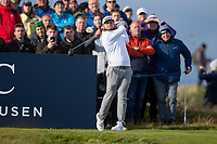 3rd October 2021; The Old Course, St Andrews Links, Fife, Scotland; European Tour, Alfred Dunhill Links Championship, Fourth round; Tyrrell Hatton of England tees off on the sixteenth hole during the final round of the Alfred Dunhill Links Championship on the Old Course, St Andrews