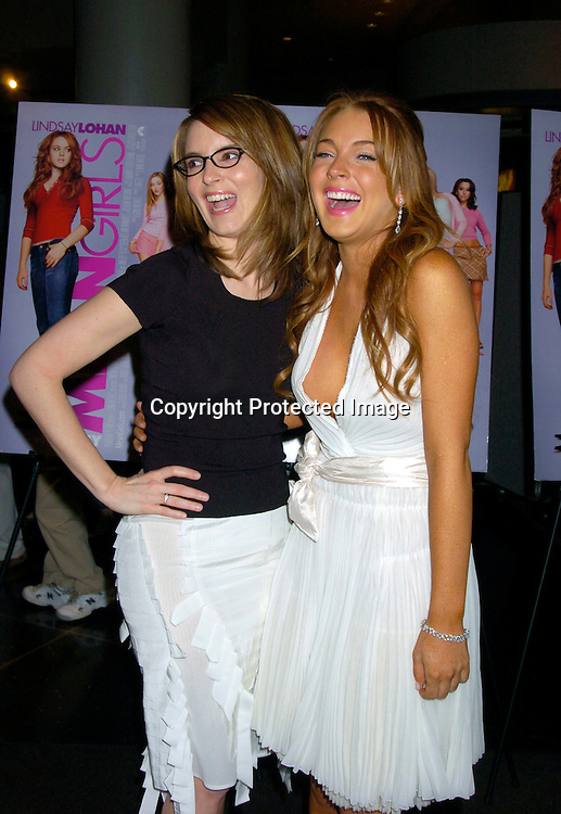 """Tina Fey and Lindsay Lohan ..at a private screening of """"Mean Girls"""" on April 23, 2004 at the Loews Lincoln Square Theatre in New York City. ..Photo by Robin Platzer, Twin Images"""