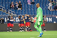 FOXBOROUGH, MA - MAY 16: Eloy Room #1 Columbus SC reacts to the New England Revolution goal during a game between Columbus SC and New England Revolution at Gillette Stadium on May 16, 2021 in Foxborough, Massachusetts.