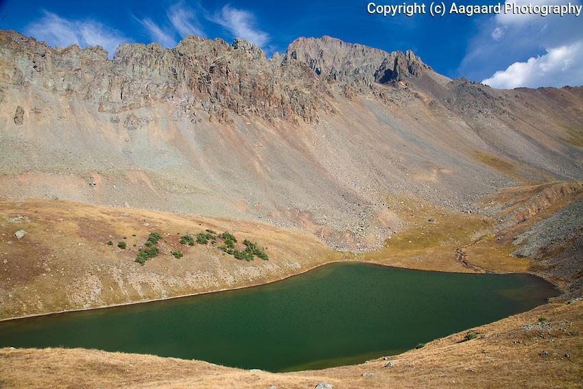 Mt. Sneffels (the highest peak, center-right) overlooks the Upper Blue Lakes.  <br /> <br /> Canon EOS 5D, 24-105L lens