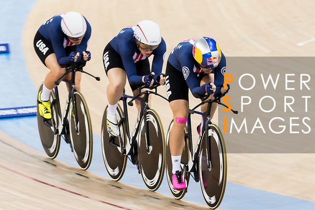 The team of USA with Kelly Catlin, Chloe Dygert, Kimberly Geist and Jennifer Valente competes in the The team of USA with Kelly Catlin, Chloe Dygert, Kimberly Geist and Jennifer Valente competes in the Women's Team Pursuit Finals as part of the 2017 UCI Track Cycling World Championships on 13 April 2017, in Hong Kong Velodrome, Hong Kong, China. Photo by Chris Wong / Power Sport Images