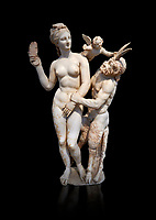 Hellenstic marble statue group of Aphrodite (Venus) with Pan and Eros, Circa 100 BC, House of Poseidonaistai of Beryttos, Delos, Athens National Archaeological Museum.  Cat no 3335. Against black<br /> <br /> The nude goddess Aphrodite (Venus) attempte to fend off goat footed Pan who make erotic advances towards her. Aphrodite holds a sandal in her right hand threatening Pan while the winged god Eros comes to her aid. According to an inscription on the statues base it was dedicated to Dionysus of Beryttos (Beirut) to hai ancestral gods.