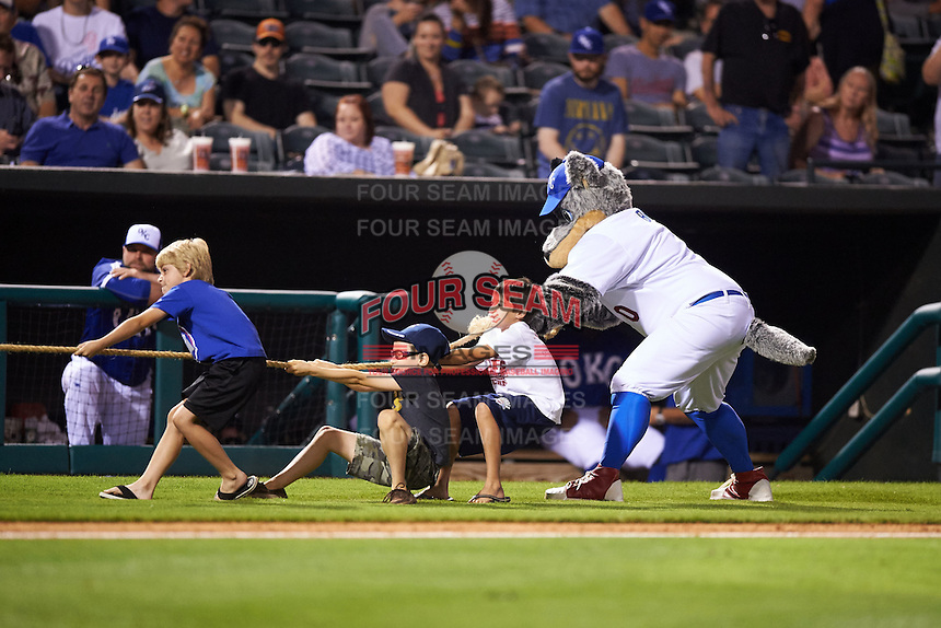 Oklahoma City Dodgers mascot Brix during an on field promotion during a game against the Fresno Grizzles on June 1, 2015 at Chickasaw Bricktown Ballpark in Oklahoma City, Oklahoma.  Fresno defeated Oklahoma City 14-1.  (Mike Janes/Four Seam Images)