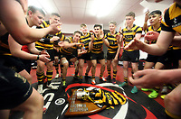 Friday 17th March 2017 | ULSTER SCHOOLS CUP FINAL<br /> <br /> RBAI celebrate in the changing room with the famous trophy after the Ulster Schools Cup Final between RBAI and MCB at Kingspan Stadium, Ravenhill Park, Belfast, Northern Ireland.<br /> <br /> Photograph by John Dickson | www.dicksondigital.com
