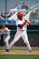 Auburn Doubledays center fielder Armond Upshaw (8) at bat during the second game of a doubleheader against the Mahoning Valley Scrappers on July 2, 2017 at Falcon Park in Auburn, New York.  Mahoning Valley defeated Auburn 3-2.  (Mike Janes/Four Seam Images)
