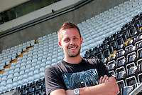 Thursday 24 July 2014<br /> Pictured: Gylfi Sigurdsson at the Liberty Stadium, Swansea<br /> Re: Gylfi Sigurdsson at the Liberty Stadium Swansea after Swansea City FC  confirm the signing of Tottenham Hotspur midfielder  for an undisclosed fee