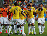 CUIABA - BRASIL -24-06-2014. Foto: Roberto Candia / Archivolatino<br /> Juan Cuadrado (#11), Pablo Armero (#7), Adrian Ramos (#19), Eder Balanta (#16) jugadores de Colombia (COL) celebran un gol anotado a Japón (JPN) durante partido del Grupo C de la Copa Mundial de la FIFA Brasil 2014 jugado en el estadio Arena Pantanal de Cuiaba./ Juan Cuadrado (#11), Pablo Armero (#7), Adrian Ramos (#19), Eder Balanta (#16) players of Colombia (COL) celebrate a goal scored to Japan (JPN) during the macth of the Group C of the 2014 FIFA World Cup Brazil played at Arena Pantanal stadium in Cuiaba. Photo: Roberto Candia / Archivo Latino<br /> VizzorImage PROVIDES THE ACCESS TO THIS PHOTOGRAPH ONLY AS A PRESS AND EDITORIAL SERVICE IN COLOMBIA AND NOT IS THE OWNER OF COPYRIGHT; ANOTHER USE IS REPONSABILITY OF THE END USER. NO SALES, NO MERCHANDASING. ALL COPYRIGHT IS ARCHIVOLATINO