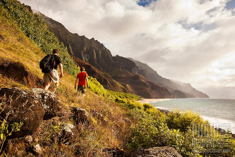 Hiking into Kalalau valley, north shore of Kauai