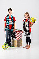 Wednesday 02 November 2016<br /> Pictured: Erin and Joe Davies<br /> Re: Swansea City Christmas Photo shoot, Liberty Stadium, Wales, UK