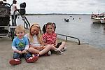Cillian Farrell, Tanisha Bradley and Amiah Leech at the Green Buoy 1KM Swim in Clogherhead....(Photo credit should read Jenny Matthews/NEWSFILE)...