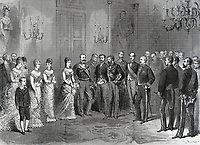 Spain (1878). Ceremony of engagement of the princess Mercedes at the white hall of the San Telmo Palace in Sevilla. Published