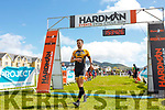 Padraig Kelly from the Tralee Tri Club crossing the finish line at the Hardman Skellig Coast Triathlon in Waterville on Saturday.