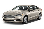 2018 Ford Fusion Hybrid SE 4 Door Sedan angular front stock photos of front three quarter view