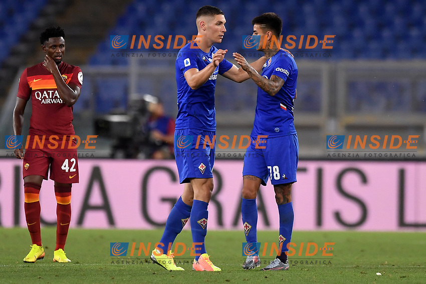 Nikola Milenkovic of ACF Fiorentina celebrates with Erick Pulgar after scoring the goal of 1-1 during the Serie A football match between AS Roma and ACF Fiorentina at stadio Olimpico in Roma (Italy), July 26th, 2020. Play resumes behind closed doors following the outbreak of the coronavirus disease. <br /> Photo Antonietta Baldassarre / Insidefoto