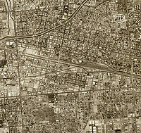 historical aerial photograph of Bakerfield, Kern County, California, 1974