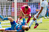 LOS ANGELES, CA - MAY 29: Pablo Sisniega #23 of LAFC with a save during a game between New York City FC and Los Angeles FC at Banc of California Stadium on May 29, 2021 in Los Angeles, California.