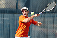 SAN ANTONIO, TX - FEBRUARY 15, 2013: The University of Nevada Wolfpack vs. the University of Texas at San Antonio Roadrunners Men's Tennis at the UTSA Tennis Center. (Photo by Jeff Huehn)