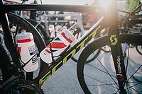 Simon Yates' (GBR/Mitchelton-Scott) bike before the start<br /> <br /> MEN ELITE ROAD RACE<br /> Kufstein to Innsbruck: 258.5 km<br /> <br /> UCI 2018 Road World Championships<br /> Innsbruck - Tirol / Austria